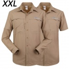 ESDY-611 Men's Outdoor Sports Climbing Detachable Quick-Drying Polyester Shirt - Khaki (XXL)