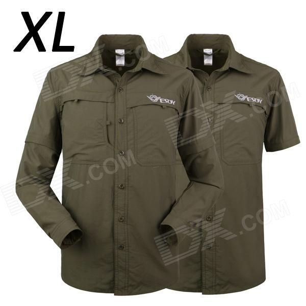 ESDY-624 Men's Outdoor Sports Climbing Detachable Quick-Drying Polyester Shirt - Army Green (XL) esdy 611 men s outdoor sports climbing detachable quick drying polyester shirt camouflage xxl