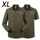 ESDY-624 Men's Outdoor Sports Climbing Detachable Quick-Drying Polyester Shirt - Army Green (XL)