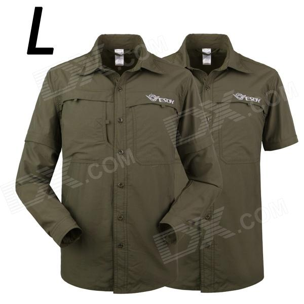 ESDY-625 Men's Outdoor Sports Climbing Detachable Quick-Drying Polyester Shirt - Army Green (L) esdy 611 men s outdoor sports climbing detachable quick drying polyester shirt camouflage xxl