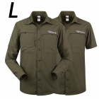 ESDY-625 Men's Outdoor Sports Climbing Detachable Quick-Drying Polyester Shirt - Army Green (L)
