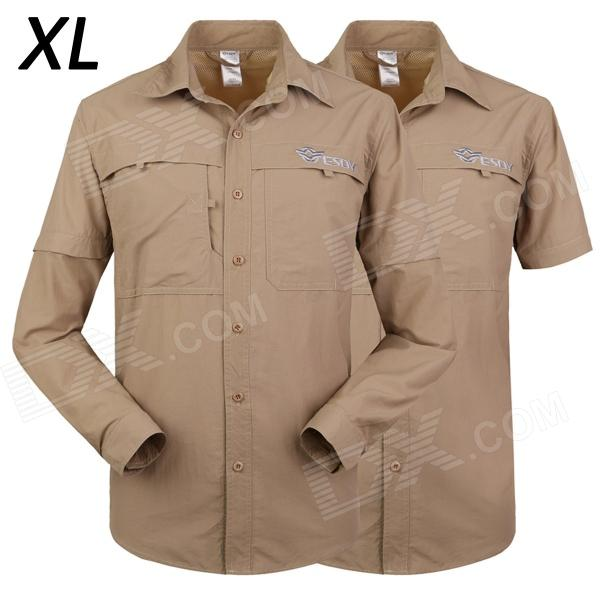 ESDY-612 Men's Outdoor Sports Climbing Detachable Quick-Drying Polyester Shirt - Khaki (XL) esdy 611 men s outdoor sports climbing detachable quick drying polyester shirt camouflage xxl