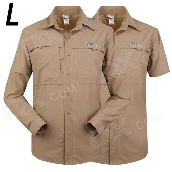 ESDY-613 Men's Outdoor Sports Climbing Detachable Quick-Drying Polyester Shirt - Khaki (L) esdy 611 men s outdoor sports climbing detachable quick drying polyester shirt camouflage xxl