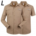 ESDY-613 Men's Outdoor Sports Climbing Detachable Quick-Drying Polyester Shirt - Khaki (L)