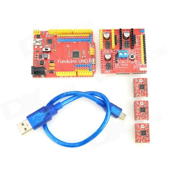 FUNDUINO 3DV2 3D Printer Stepper Expansion Board + UNO Board + 3-Drivers + USB Cable - Red funduino 3d0073 fr4 expansion board 4 stepper motor drives funduino uno r3 board kit for arduino