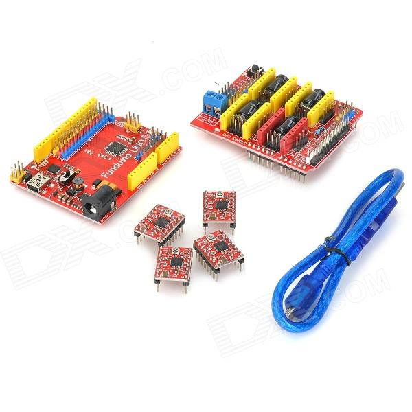 FUNDUINO 3DV3 CNC Shield V3 UNO + Reprap Stepper stuurprogramma's Set voor Arduino - Red