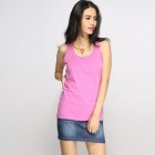 Catwalk88 Women's Summer Casual Cotton Racer Back Vest Top - Deep Pink (L)