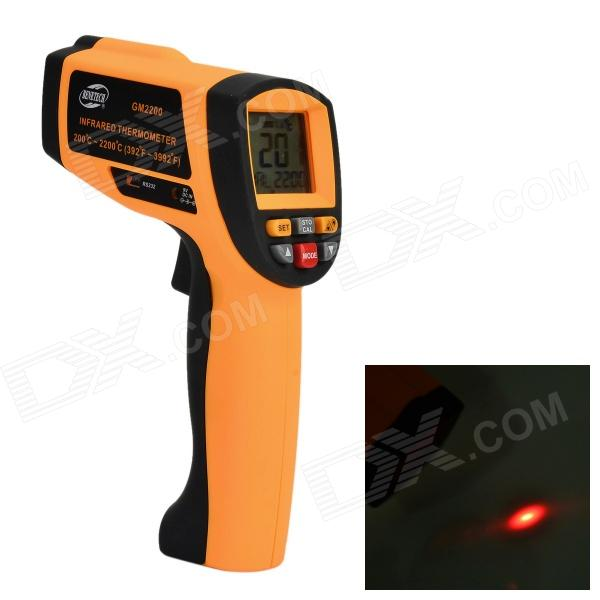 BENETECH GM2200 Infrared Temperature Measuring Thermometer - Orange + Black (1 x 9V) benetech gm320 1 2 lcd infrared temperature tester thermometer orange black 2 x aaa