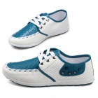 SNJ Men's Fashionable Breathable Lace-up PU Casual Shoes - White + Blue (Size 44 / Pair)