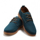 SNJ Men's Fashionable Breathable Suede Leather Shoes - Light Blue + Brown (EU Size 44 / Pair)