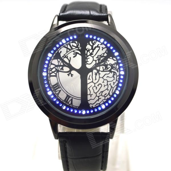 L-9 Stylish Tree Patterned Dial Blue LED Touch Screen Digital Wrist Watch - Black stylish 8 led blue light digit stainless steel bracelet wrist watch black 1 cr2016