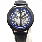 L-9 Stylish Tree Patterned Dial Blue LED Touch Screen Digital Wrist Watch - Black