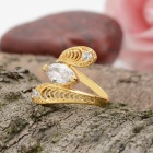 KCCHSTAR Gold Plating Snake Style Crystal Inlaid Ring - Golden + Transparent (US Size 8)