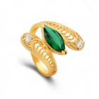 KCCHSTAR Gold Plating Snake Style Crystal Inlaid Ring - Golden + Green (US Size 8)