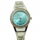 Fashion Round Crystal Dial Quartz Bracelet Watch for Women - Blue + Silver