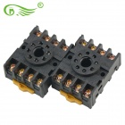LQ1A1475 P2CF-08 10A Plastic + Hardware Components Relay Base - Black (2 PCS)
