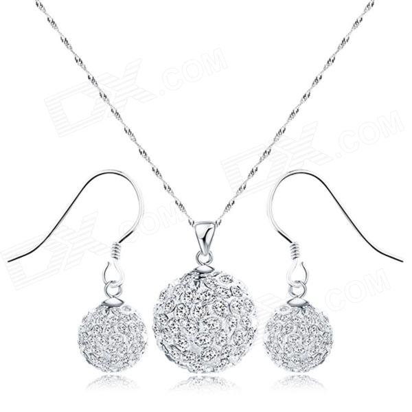 EQute Ball Shaped S925 Sterling Silver Crystal Studded Pendant Necklace + Earrings Set - Silver punk eye shaped pendant women men s necklace