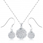 EQute Ball Shaped S925 Sterling Silver Crystal Studded Pendant Necklace + Earrings Set - Silver