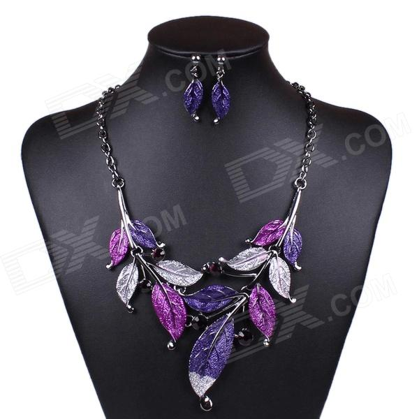 ML10288 Women's Leaves Style Necklace + Earrings - Purple + Silver