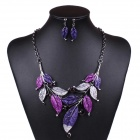 ML10288 Women's Retro Leaves Style Pendant Necklace + Drop Earrings Set - Purple + Silver