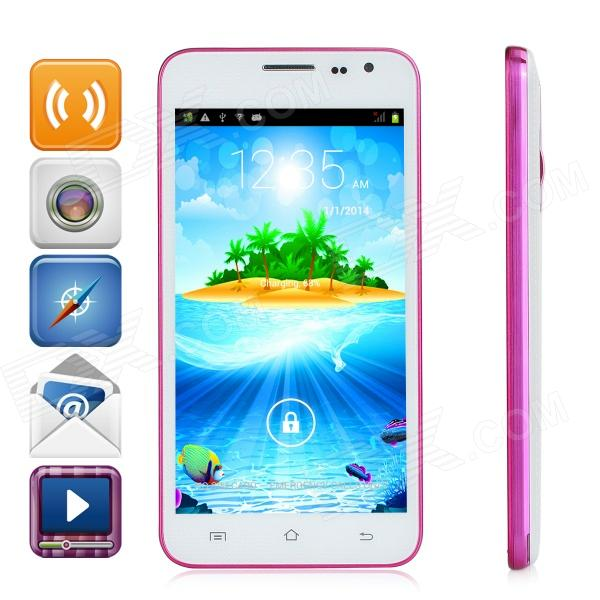 G3 Android 4.2.2 Dual-core WCDMA Bar Phone w/ 5.0 Screen, Wi-Fi and GPS - White + Deep Pink s500 android 4 2 dual core wcdma bar phone w 4 0 screen wi fi and bluetooth white green