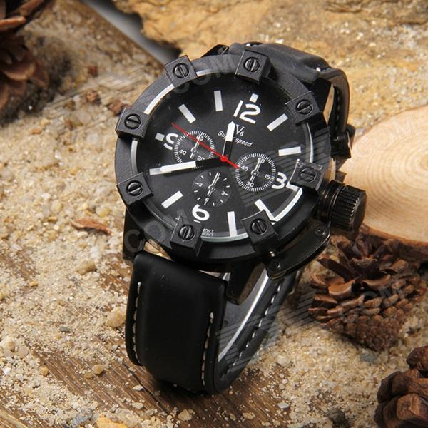 V6 30045 Men's Casual Silicone Band Quartz Analog Wristwatch - Black (1 x 377)