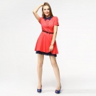 Catwalk88 Women's Fashionable Short-sleeved Cotton Dress w/ Waistband - Red (L)