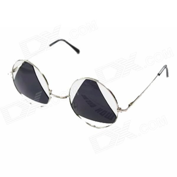 P1 Super Cool Creative UV400 Protection Zinc Alloy Frame PC Lens Sunglasses - Silver + Black 1more super bass headphones black and red