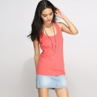 Catwalk88 Women's Summer Casual Cotton Racer Back Vest Top - Red (L)
