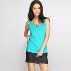 Catwalk88 Women's Summer Casual Cotton Racer Back Vest Top - Green (L)