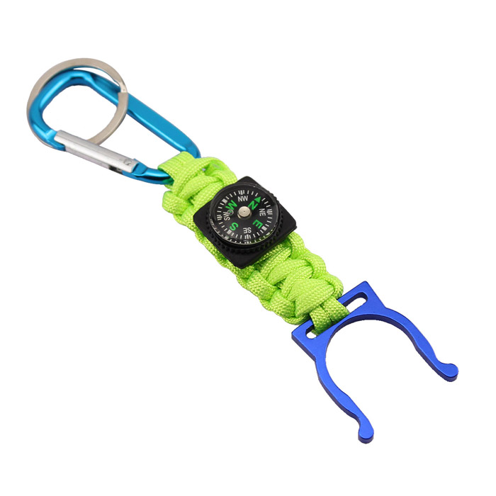 Bracelet Style Outdoor Survival Emergency Rope w/ Compass / Bottle Clip - Green bracelet style outdoor survival emergency rope army green brown