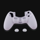 A-M06 Protective Silicone Case + Button Cap Set for PS4 Controller - White