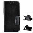 Protective Flip-open PU Leather + PC Case w/ Mirror / Holder for Samsung Galaxy S4 / S5 - Black