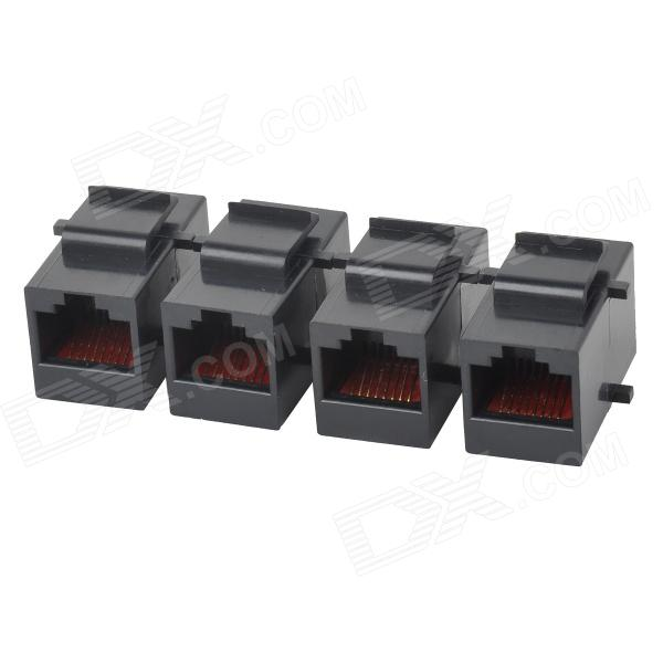 netwerk krimp straight-through RJ45 modulaire connector - zwart (4 stuks)