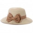 Women's Casual Bowknot Ornament Spring & Summer Straw Hat - Khaki