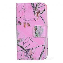 YI-YI Tree Branch Patterned Flip-Open PU Leather Case w/ Stand for IPHONE 4 / 4S - Pink + Green