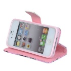 YI-YI Boomtak gedessineerde flip-open PU Leather Case w / Stand voor iPhone 4 / 4S - Roze + Groen