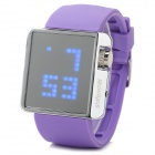 "ShiFenMei Silicone Band 1.3"" LCD Digital LED Blue Light Wristwatch - Purple + Silver (1 x CR2032)"