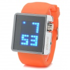 "ShiFenMei Rubber Band 1.3"" LCD Digital LED Blue Light Wristwatch - Orange + Silver (1 x CR2032)"