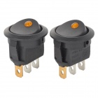 Yellow LED ON / OFF Rocker Switch w/ Terminal + Protector Set for Electric Appliances (2 PCS)