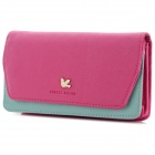 Women's Fashionable Mini PU Bag w/ Shoulder Strap - Deep Pink + Light Green