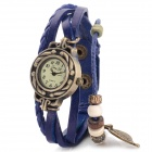 Jing Yi Women's Retro Bracelet Style PU Band Analog Quartz Wrist Watch - Blue + Brass (1 x 377)