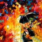 "Iarts DX0614-04 Hand-painted ""Lovers Kissing in the Rain"" Oil Painting - Red + Blue (40 x 60cm)"