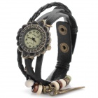 Jing Yi B001 Women's Retro Bracelet Style PU Band Analog Quartz Watch - Bronze + Black (1 x 377)