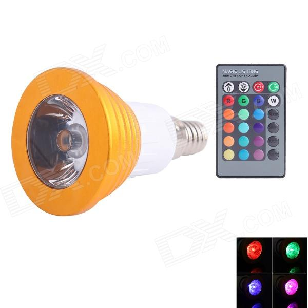 E14 3W 90lm LED RGB Light Spotlight w/ Remote Control - Golden + White (AC 85~265V)