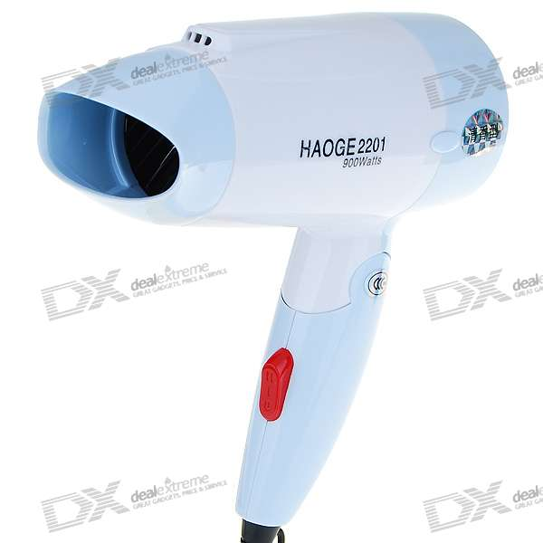 900W Foldable Cool/Hot Hair Dryer - Blue (220V AC)