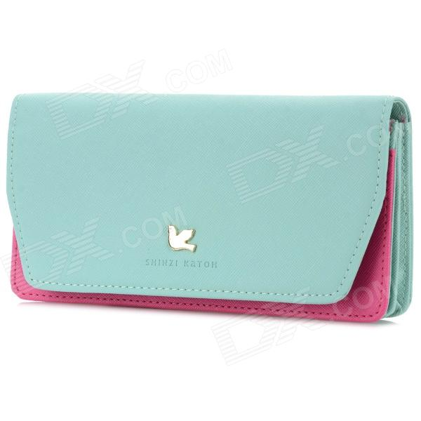 Women's Fashionable Mini PU Bag w/ Shoulder Strap - Light Green + Deep Pink