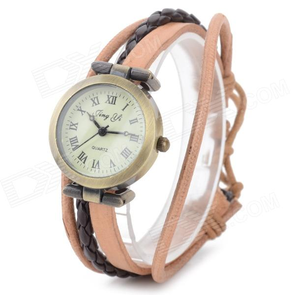Jing Yi B006 Retro Bracelet Style Analog Quartz Wrist Watch for Women - Brown + Coffee (1 x 377) l 10 women s stylish petals style bracelet quartz analog wristwatch golden white 1 x lr626