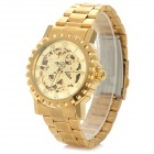 Jaragar Fashion Stainless Steel Band Analog Auto-Mechanical Watch for Men - Golden