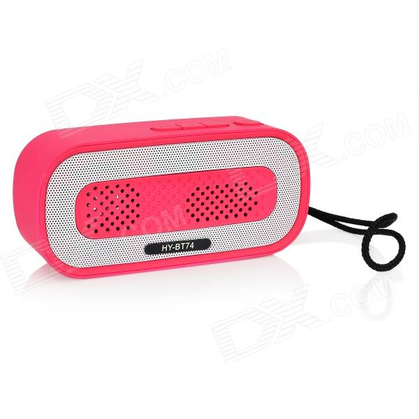 HY HY-BT74 Bluetooth V2.0 Speaker w/ 3.5mm / USB 2.0 / Microphone / FM / TF - Deep Pink + White bt800 wireless bluetooth speaker w phone calling tf fm micro usb video deep pink